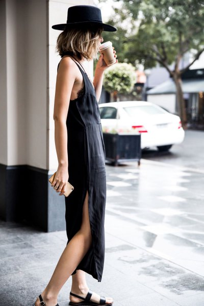 black maxi shift dress with felt hat