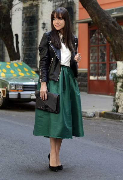 black moto jacket with matching midi flared taffeta skirt