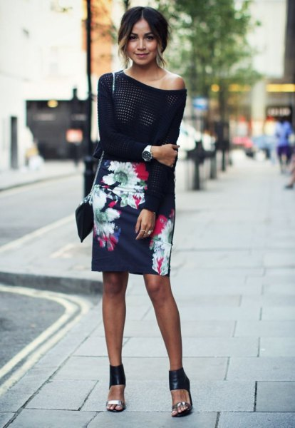 black one shoulder knit sweater with navy floral printed pencil skirt
