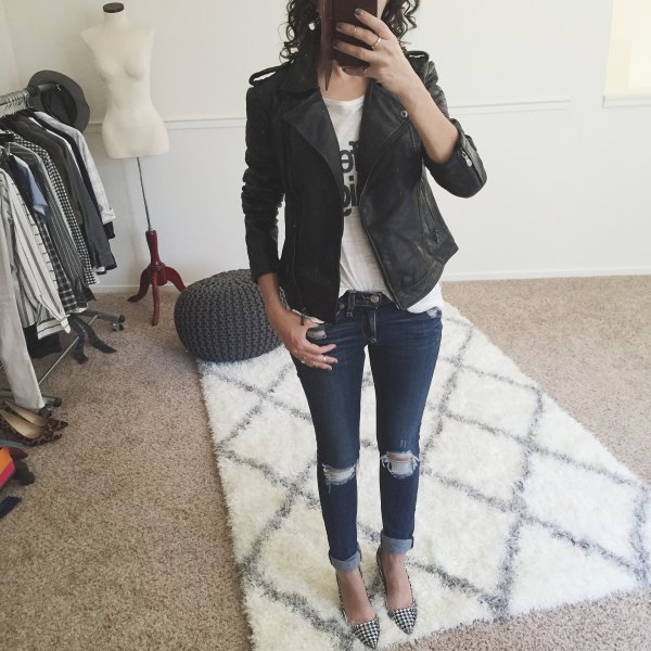 black petite matte leather jacket with white print tee and skinny jeans
