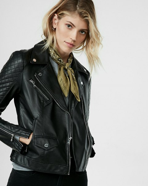 black quilted petite leather jacket with green ribbon scarf