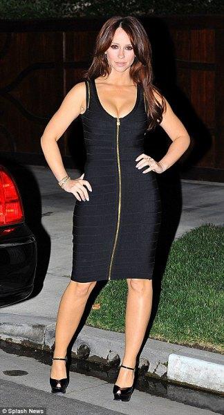 black scoop neck zip front midi bodycon dress