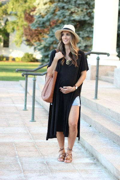 black side slit t shirt dress with blue denim shorts