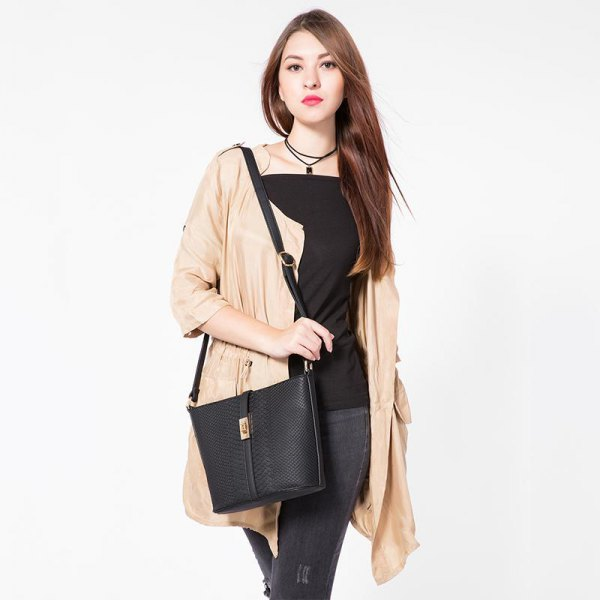 black square neckline top with blush cardigan and leather messenger bag