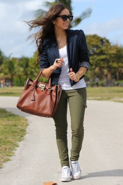 black three quarter sleeve blazer with white tank top and olive green pants