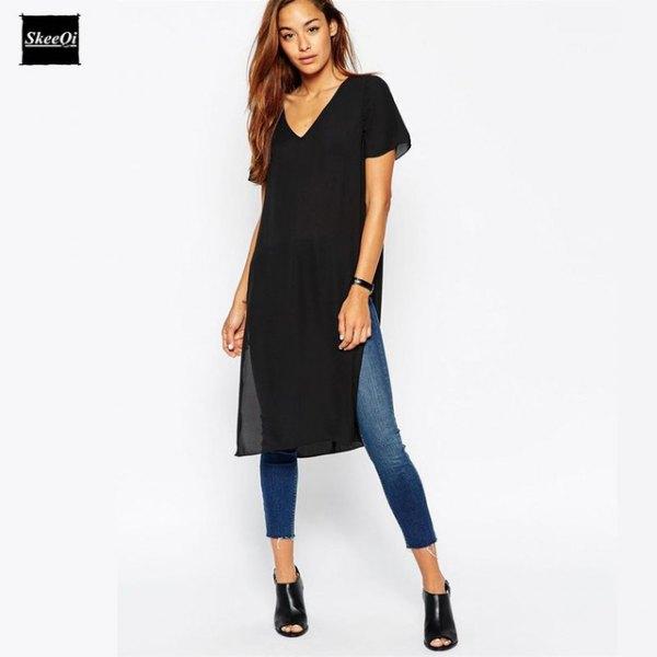 black v neck side slit long shirt with skinny jeans
