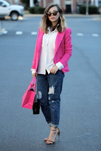blazer with white chiffon shirt and ripped dark blue straight leg jeans