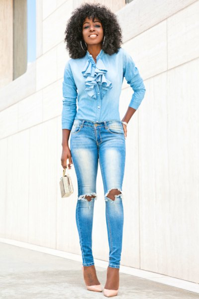 blue ruffle bow slim cut shirt with ripped skinny jeans