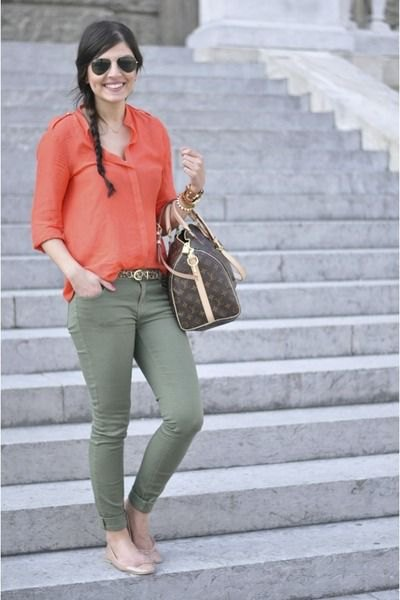 blush pink carol button up shirt with olive green skinny jeans