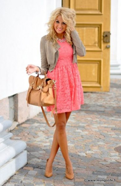 blush pink fit and flare lace mini dress with grey short jacket