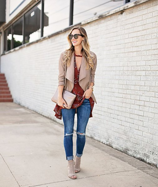 blush pink jacket over burgundy tunic tank top