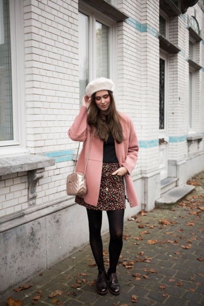 blush pink wool coat with black and white printed mini skirt
