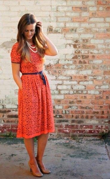 blush short sleeve belted gathered waist midi lace dress