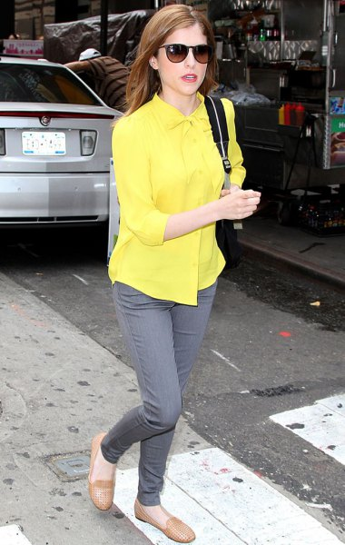 bright yellow button up shirt with grey slim cut jeans