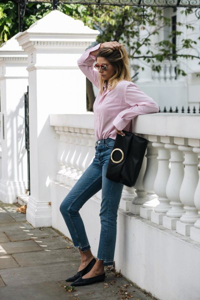 button up shirt with high rise cropped skinny jeans