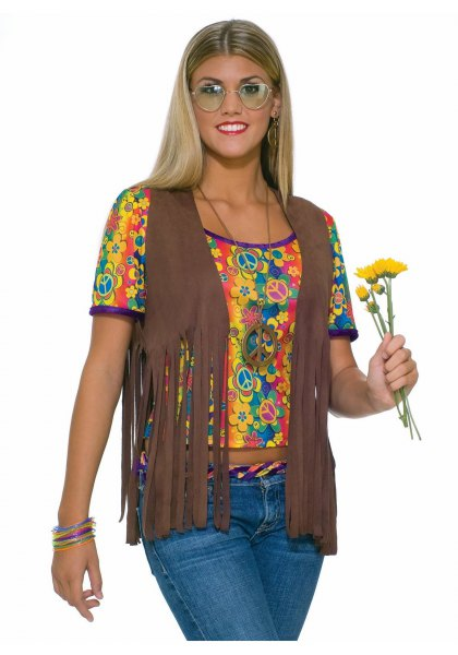 camel hippie fringe vest with yellow printed cropped tee