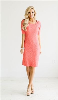 carol half sleeve lace midi dress with pale pink open toe heels