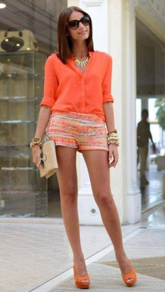 carol pink half sleeve button up shirt with yellow and white printed mini shorts