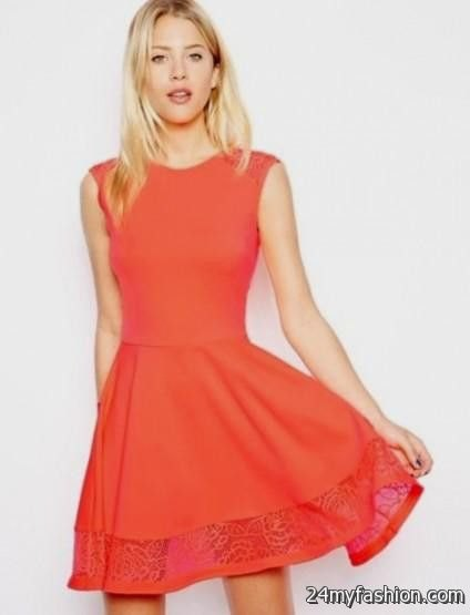carol sleeveless fit and flare lace hem mini dress