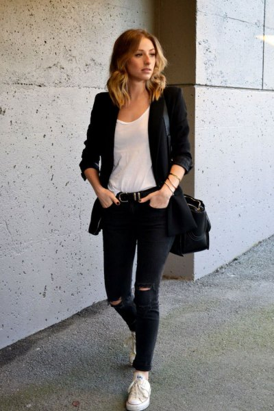 casual jacket with white scoop neck top and black jeans