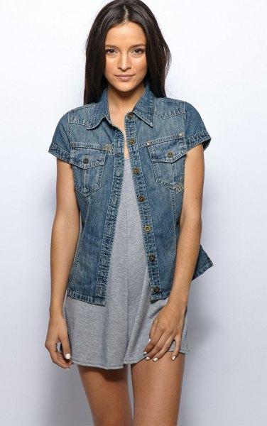 dark blue short sleeve denim jacket with grey mini shift dress