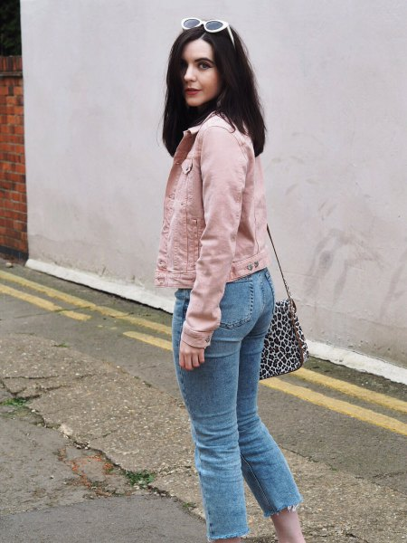 denim jacket with light blue cropped mom jeans