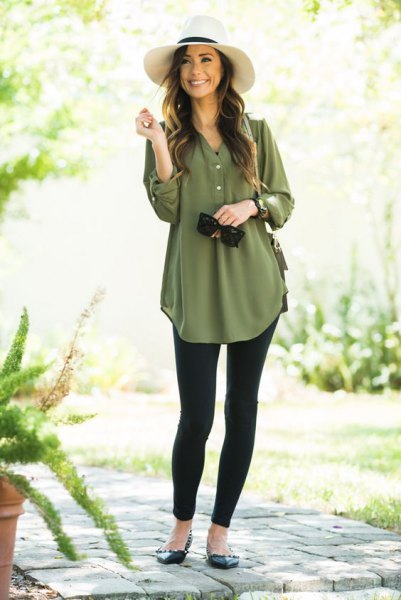 green button up chiffon dressy tunic blouse with black leggings