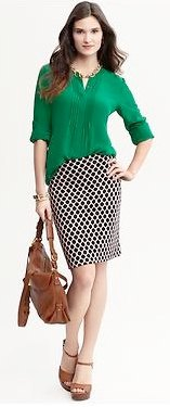 green chiffon blouse with checkered pencil skirt