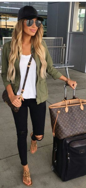 green military blazer jacket with black ripped jeans