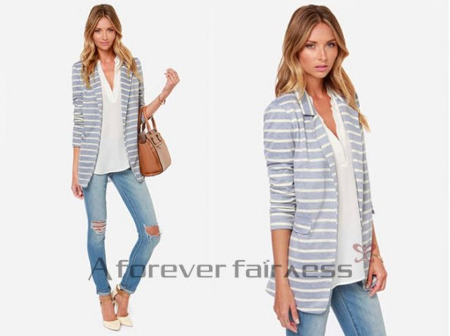 grey and white striped cotton blazer with v neck blouse
