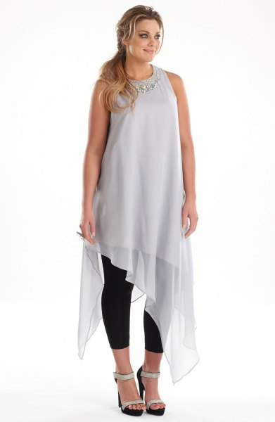 grey chiffon high low sleeveless long dressy tunic top
