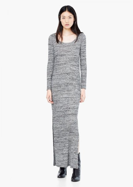 grey maxi shift knit sweater dress with boots