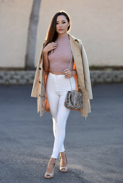 grey mock neck form fitting cropped sweater with white skinny jeans