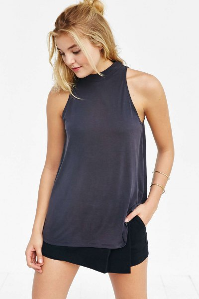 grey mock neck tunic tank top with white mini wrap skirt