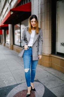 grey oversized casual blazer with white tee and blue jeans