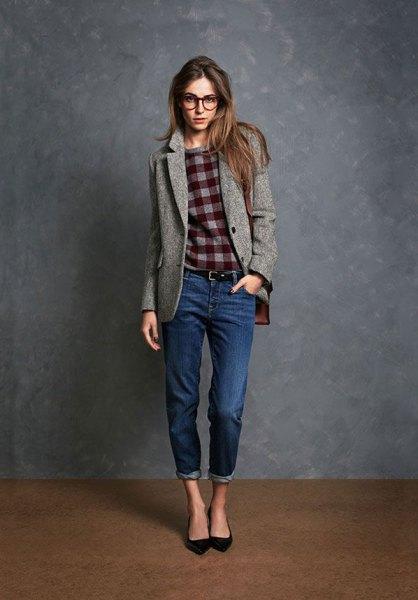 grey wool blazer with plaid sweatshirt and cuffed jeans