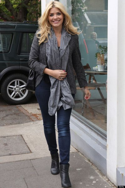 grey wool blazer with silk long scarf and black boots