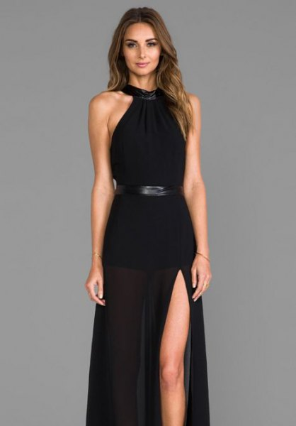 halter neck fit and flare belted maxi slit dress