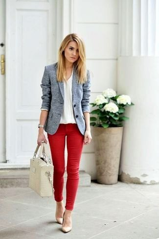 heather grey blazer with white v neck sweater and red jeans