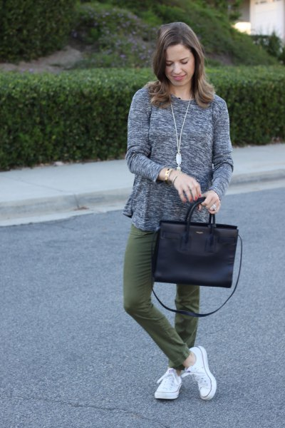heather grey relaxed fit sweater with green straight leg pants