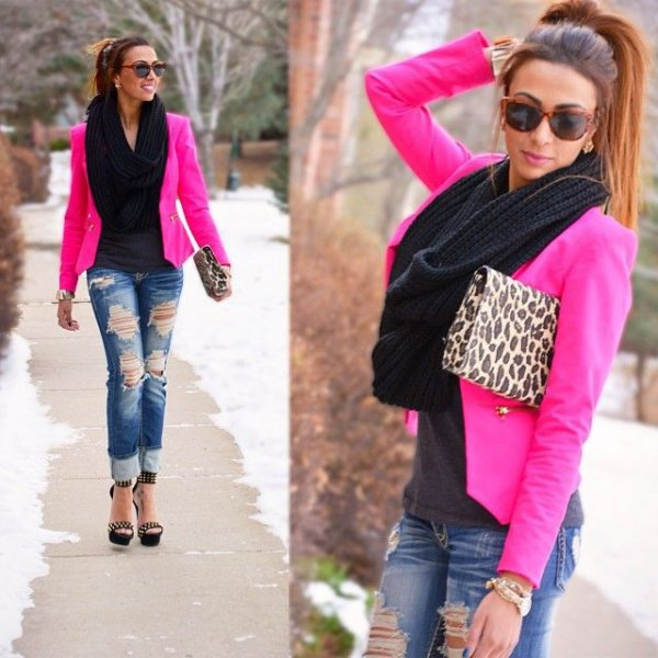 hot pink blazer with leopard print clutch bag and ripped jeans