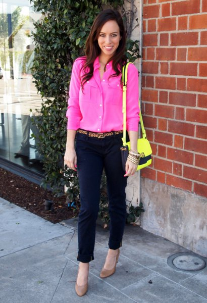 hot pink blouse with black cropped chinos