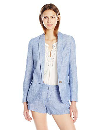 light blue blazer with matching mini shorts