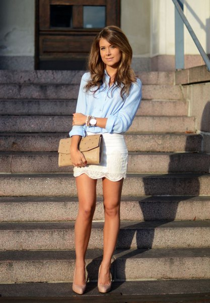 light blue button up shirt with white lace scalloped hem mini skirt