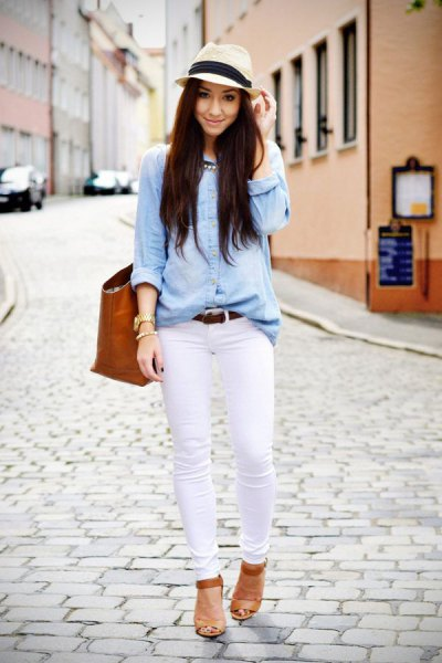 light blue chambray shirt with white skinny jeans and straw hat
