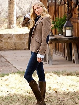 light brown patch elbow wool blazer with knee high grey boots