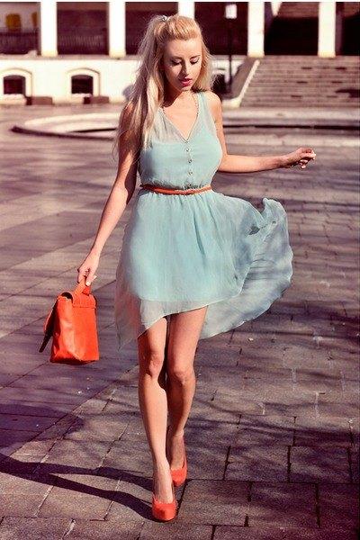 light grey belted mini chiffon dress with orange heels