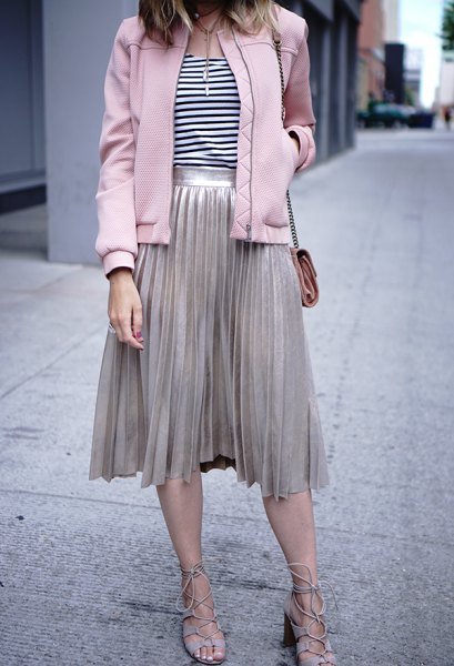 light grey pleated midi skirt and matching bomber jacket