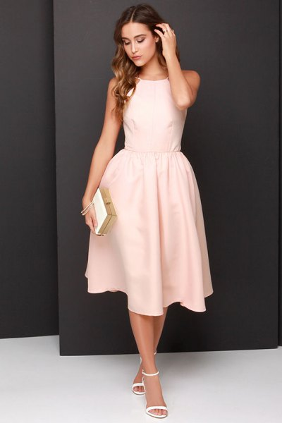 light peach fit and flare sleeveless long dress