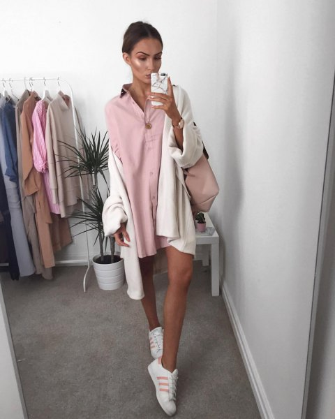 mini pink button up shirt dress with white oversized cardigan